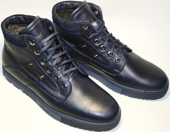 Спортивные ботинки мужские зимние синие натуральная кожа Ikos