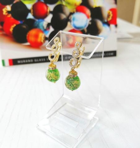 Серьги из муранского стекла со стразами Sandra Ca'D'oro Emerald Gold 030O