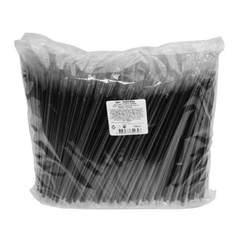 Трубочки для коктейлей прямые черные длина 210 мм 700 штук в индивидуальной упаковке
