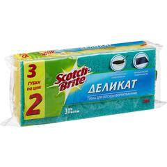 Губки для мытья посуды 3M Scotch-Brite Деликат поролоновые 67х93х45 мм 3 штуки в упаковке