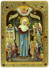 Живописная инкрустированная икона Божией Матери «Всех Скорбящих Радость с грошиками» 42х29см на кипарисе в березовом киоте