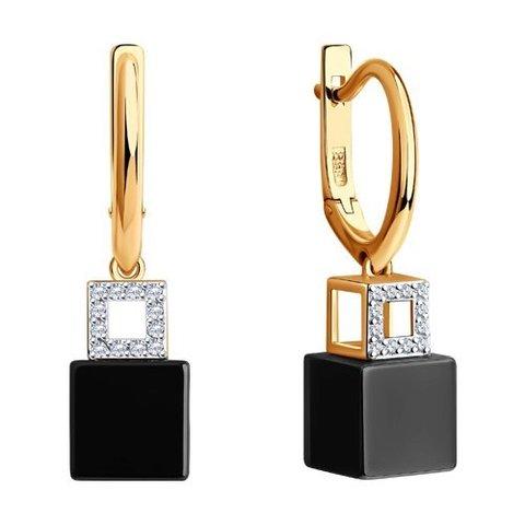 6025122 - Серьги из золота с бриллиантами и керамическими вставками
