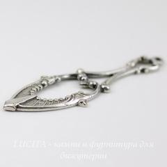 Винтажный декоративный элемент - подвеска 42х14 мм (оксид серебра)