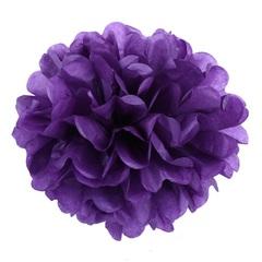 Помпон из бумаги 20 см, фиолетовый