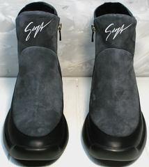 Женские зимние полусапожки модные Jina 7195 Leather Black-Gray