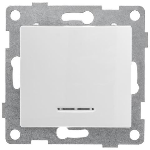 Выключатель одноклавишный с подсветкой, 10 А 220/250 В~. Цвет Белый. Bravo GUSI Electric. С10В18-001