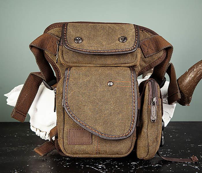 BAG507-2 Мужская сумка на бедро из ткани коричневого цвета