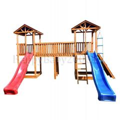 Детская площадка М23-2 с широким скалодромом и тентовыми крышами