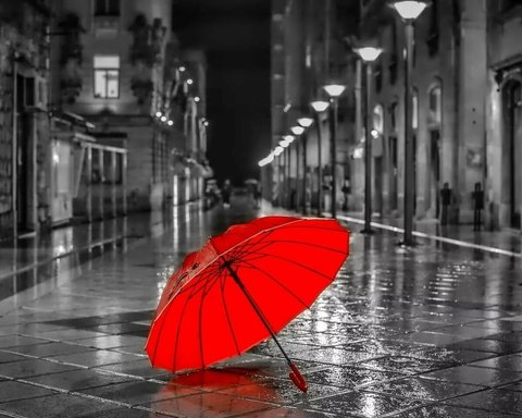 Алмазная Мозаика 20x30 Красный зонт на черно-белой улице
