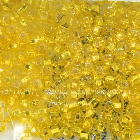 87010 Бисер 10/0 Preciosa прозрачный желтый с серебряным квадратным центром (87010)