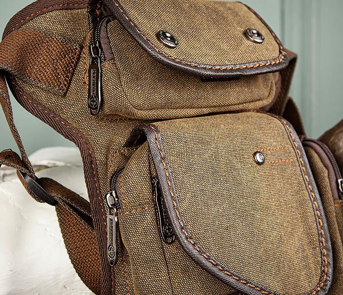 BAG507-2 Мужская сумка на бедро из ткани коричневого цвета фото 03