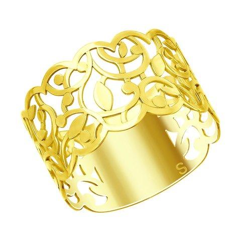 93010739 Ажурное кольцо из золочёного серебра