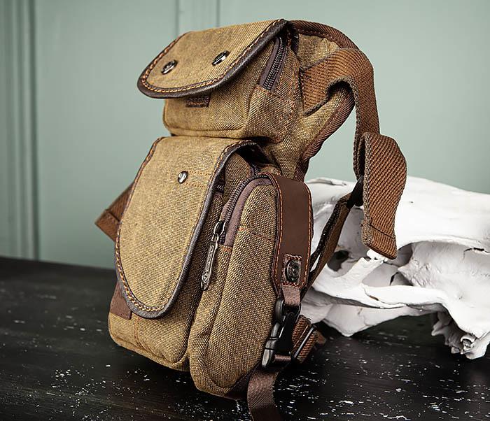 BAG507-2 Мужская сумка на бедро из ткани коричневого цвета фото 04