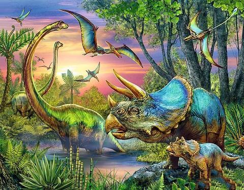Алмазная Мозаика 20x30 Динозавры