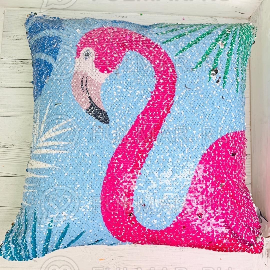 Подушка декоративная с пайетками Розовый Фламинго меняет цвет на серебристый 40х40 см фото