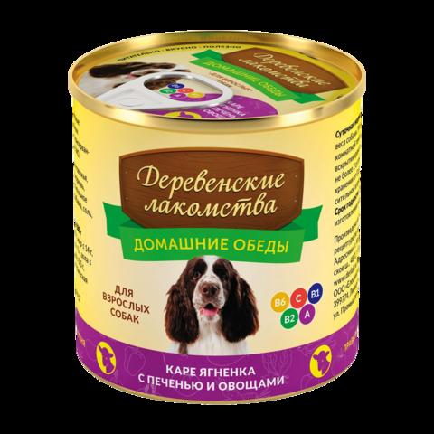 Деревенские лакомства Домашние обеды Консервы для собак с каре ягненка, печенью и овощами