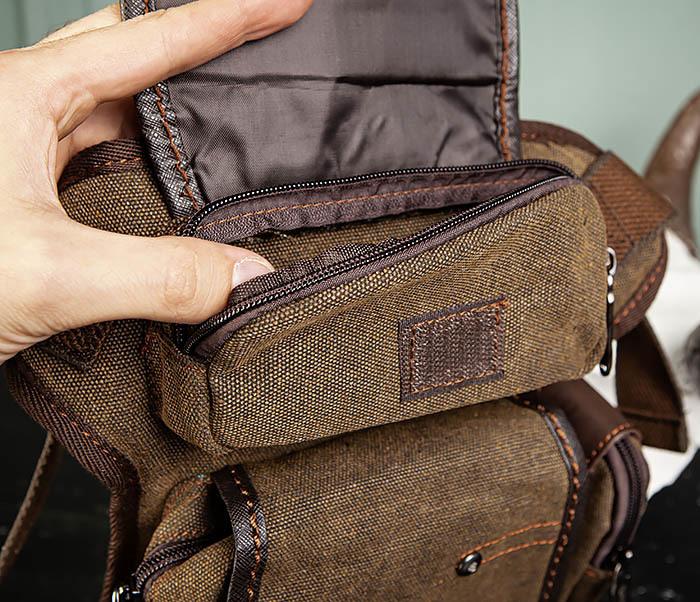 BAG507-2 Мужская сумка на бедро из ткани коричневого цвета фото 06