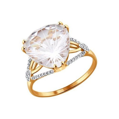 714032 - Кольцо из золота с горным хрусталем и фианитами