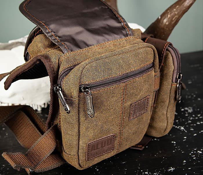 BAG507-2 Мужская сумка на бедро из ткани коричневого цвета фото 07