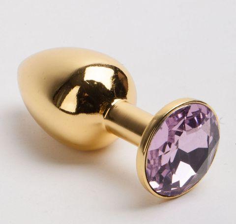 Золотистая металлическая анальная пробка с розовым стразом - 8,2 см.