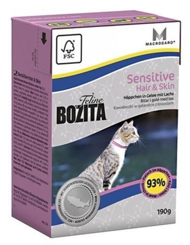 BOZITA Funktion Hair & Skin консервы для кошек для здоровой кожи (кусочки в желе с лососем) 190г