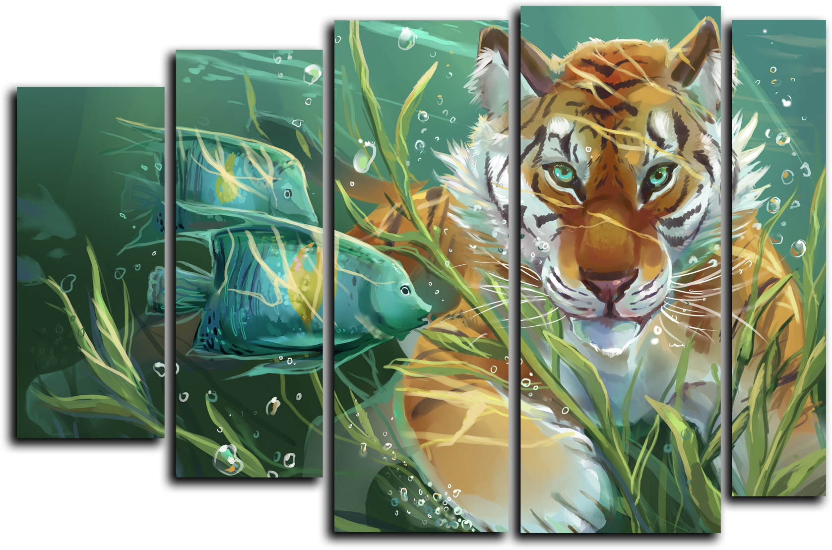 """Животные Модульная картина """"Подводный тигр"""" М233.png"""