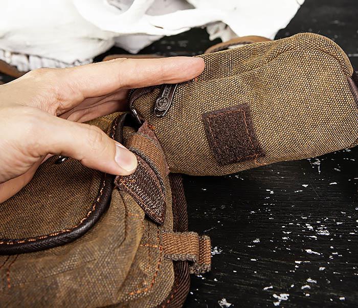 BAG507-2 Мужская сумка на бедро из ткани коричневого цвета фото 09