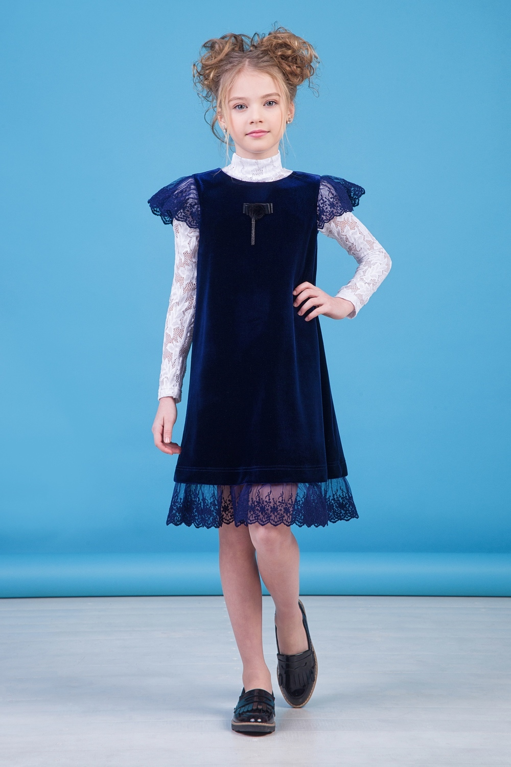 Сарафан синий для девочки 40-9019-2