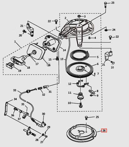 Основание стартера для лодочного мотора T9.8 Sea-PRO (7-26)