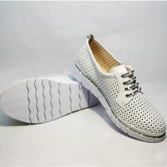 Спортивные туфли дерби женские кожаные с перфорацией GUERO G177-63 White