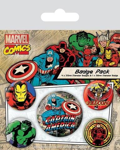 Набор значков «Marvel ретро (Капитан Америка)»