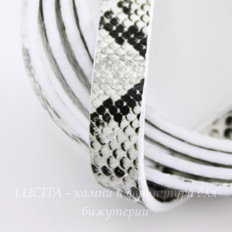 """Шнур кожаный, 10х2 мм, """"Змея"""", цвет - серый, 1,1-1,2 м"""