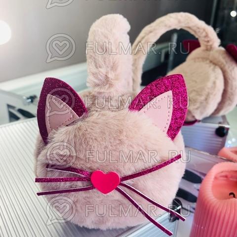Ободок на уши Плюшевый с блёстками Киса-Любимка (цвет: Розовая пудра)