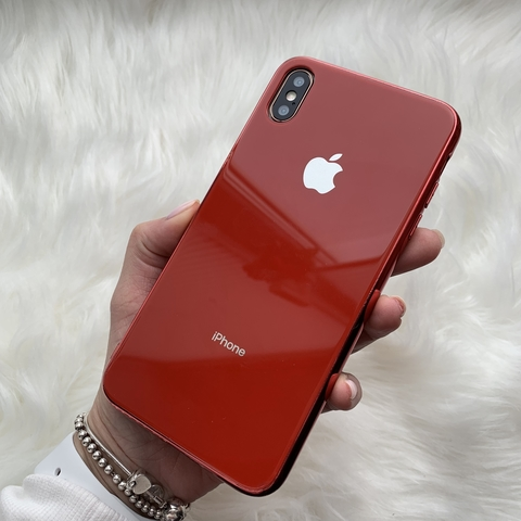 Чехол iPhone XS MAX Glass Case Logo /red/