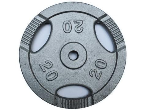 Диск для штанги с отверстиями под пальцы для хвата. Металл с покрытием матовой порошковой краской. Диаметр внутренний 26 мм. Вес 20 кг. К3-20 кг