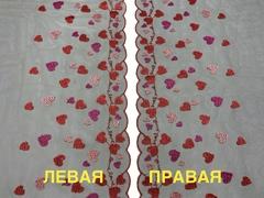 Вышивка на сетке эластичная сердечки (правая) 26 см
