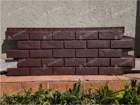 Фасадная панель Гранд Лайн Состаренный кирпич Коричневый 1109х418 мм