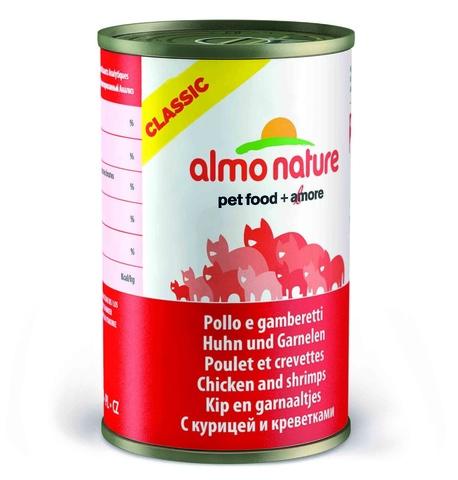 Консервы (банка) Almo Nature Classic Adult Cat Chicken&Shrimps