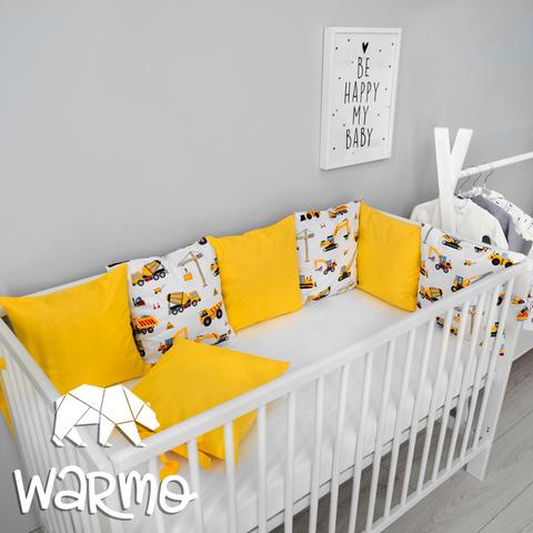 Набір бортиків-подушок в ліжечко 30x30см БУДІВНИЦТВО