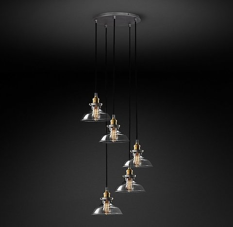 Подвесной светильник копия 20th C. Factory Filament Clear Glass Barn Round Pendant by Restoration Hardware