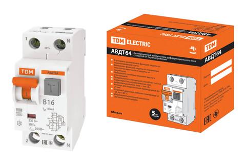 АВДТ 64 2Р(1Р+N) B16 10мА тип А защита 265В TDM
