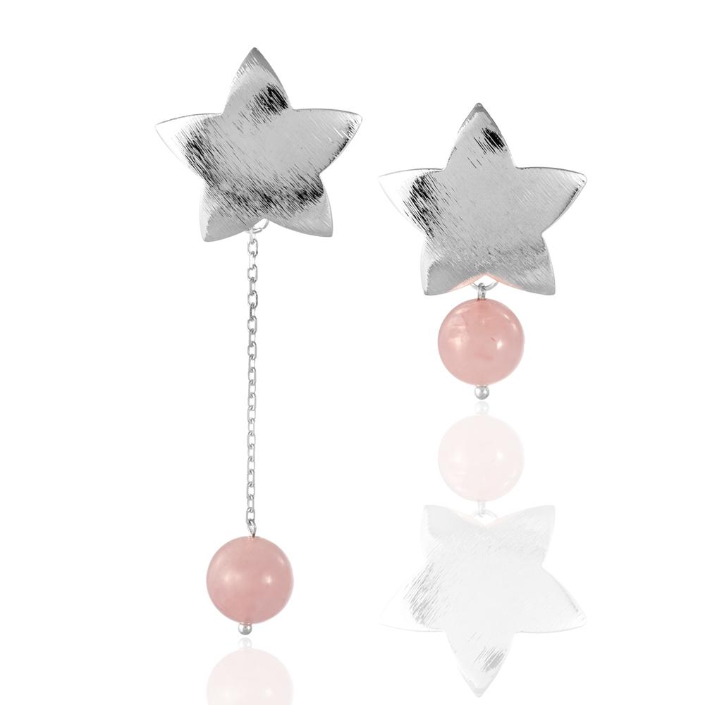Серьги асимметричные из розового кварца