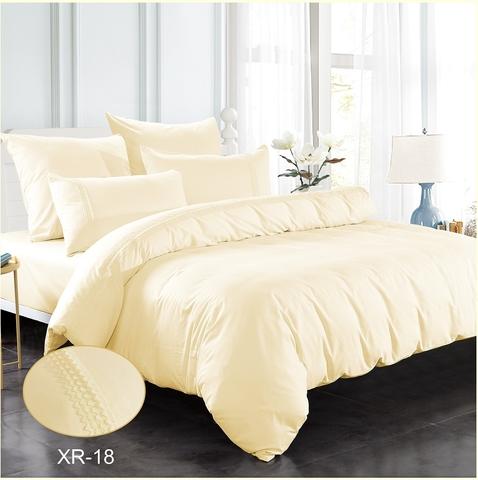1.5-Спальное однотонное постельное кремовое