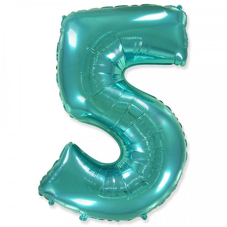 Фольгированный шар цифра 5 тиффани
