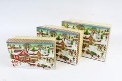 Набор подарочных коробок прямоугольник Нов. Год Домик с санями и блестками, 22х15/20х13/18х11, 3шт, 1 набор.