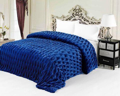 Меховое покрывало 220x240 Шарпей синий