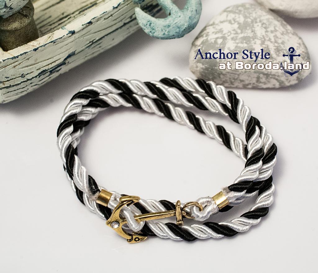 Полосатый черно-белый браслет из шнура с металлическим якорем