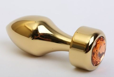 Золотистая анальная пробка с широким основанием и жёлтым кристаллом - 7,8 см.