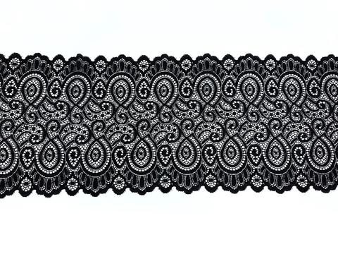 Кружево эластичное черное 18 см
