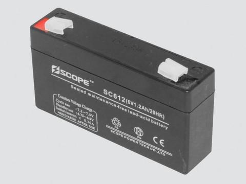 Аккумулятор свинцово-кислотный  6V, 1.2Ah SC-612 97*24*52мм